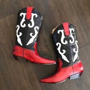 Nine West red black and white leather cowboy boots